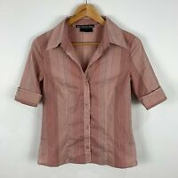 Ojay Womens Blouse Top 10 Peach Pink Striped Short Sleeve Collared