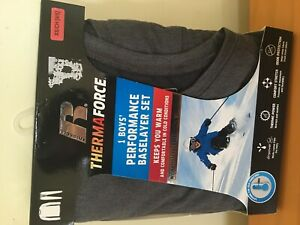 New Russell ThermaForce Boys Performance Base Layer Set Gray