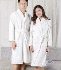 Womens MENS Cotton Night Robe Sleepwear White Bathrobe Spa Shower Robe Loose ddy