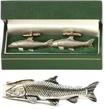 Barbel Fish Cufflinks & Tie Clip Bar Slide Tack Set Mens River Fishing Gift