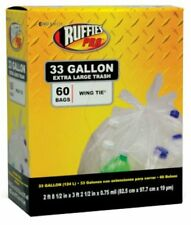 Ruffies Pro 1124909 Large Trash Recycling Bags, 33 Gallon, Clear, 60-Count