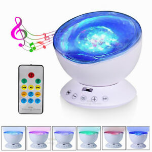 Music Relaxing Projector Ocean Wave LED Remote Night Lights Kids Baby Sleep Gift
