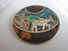 Vintage Mexico Sterling 925 Man and Donkey Abalone/Mop Brooch