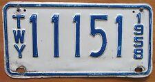 New York 1958 THRUWAY License Plate # 11151