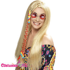 Ladies Hippy Party Wig Blonde Long + Coloured Beads Smiffys 60s 70s Hippie Wigs