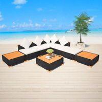 vidaXL Garden Sofa Set 18 Piece Wicker Poly Rattan WPC Outdoor Lounge Seat