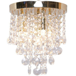 CGC Brass Crystal Droplet Chandelier Glass 4 Light Flush Fitted Ceiling Modern