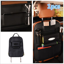 Black Car Seat Back Bag Organizer Storage Pad Phone Holder Multi-Pocket Leather