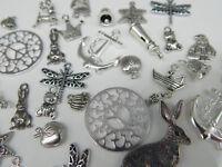 Restposten: 33 Anhänger MIX silber Metallanhänger Kettenanhänger Charms