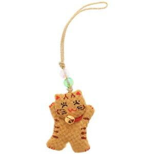 Japanese Netsuke Key Phone Car Charm Chirimen Lucky Tabby Cat w/ Bell JAPAN MADE