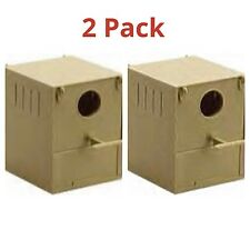 2 x Budgie Nest Boxes Plastic With Perch & Hooks To Front & Rear Aviary / Cages