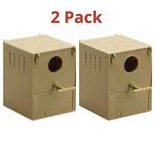2 x Budgie nido BOX in plastica con posatoi e ganci per anteriore e posteriore VOLIERA / Gabbia