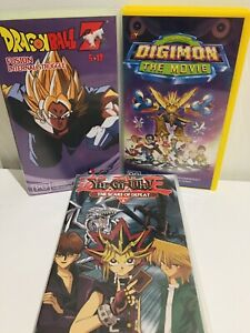 Digimon Movie - Dragon Ball - Yugioh Vhs Tape Set Of 3