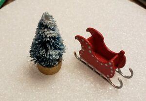 Dollhouse Miniature 1:144 Scale Holiday Christmas Santa's Sled ASSEMBLED w/ TREE