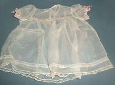 Vintage 1950 Sheer White Christening Dress Lace Pink Rib