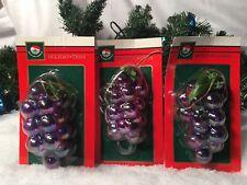 New Lot Of (3) Kurt S. Adler Santas World Purple Grape Ornaments/Holiday Trim