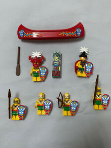 Lego Set of 6 Minifig: Explorers Jungle Tribal Chief and Warriors with Canoe
