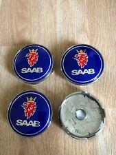 4x Saab 60mm Wheel Centre Cap Hub Alloy Caps 3D New Logo Blue