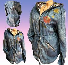 Stylische Sweatjacke  Amira 44 46 Damen Kapuzen Jacke Jeans Optik 2XL 3XL Parka