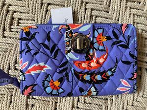 Vera Bradley Mural Garden Purple RFID Turnlock Zip-Around Clutch Wallet NWT