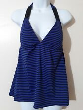 Women's Mossimo Tankini Top BLUE STRIPED PIT TO PIT 14. SIZE LARGE NO WIRE NWT