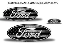 Oval Badge Emblem Logo Overlay Sticker Decals For Ford Focus 2012-2014 Subdued (Fits: Ford Focus)