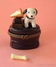 New  Handpainted RCA Puppy Dog & Gramophone Porcelain Hinged Trinket Box  phb