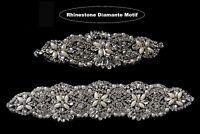 Silver Rhinestone Diamante Crystal with Pearl Motif Sewing Applique Patch Dress