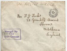 A 1943 FORCES ON ACTIVE SERVICE ENVELOPE SENT TO HARROW CENSOR 326,SEE SCANS