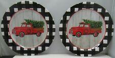 "Red Truck Melamine Buffalo Plaid Christmas Salad Plates Set of two plates 8"""