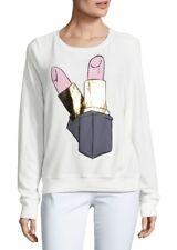 Wildfox Lipstick Graphic Sweatshirt, white, baggy beach jumper, pullover, sz. l