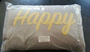 Cooksmart Happy cushion with fibre insert 50cm x 30cm Grey Ochre Mustard