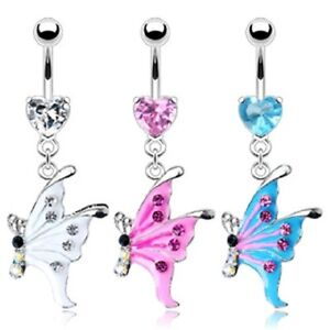 316L Surgical Steel Heart CZ Gem Epoxy Gem Butterfly Dangle Belly Navel Ring