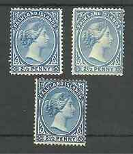 FALKLAND IS  3 DIFFERENT SHADES OF 2.5ds MOUNTED MINT ,HIGH CAT