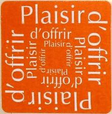 12 Etiquettes autocollantes stickers PLAISIR D'OFFRIR Coloris Orange / Ref ROC6