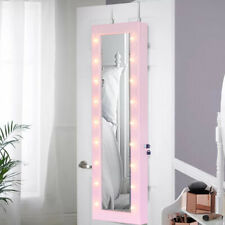 Door/Wall Mounted Mirror Jewellery Cabinet with LED Lights Makeup Storage Box UK