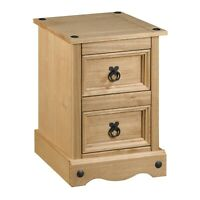 Corona Pine Bedside Cabinet 2 Drawer Bedroom Drawers Side Table Nightstand Waxed