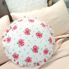 Shabby French Country Round White Pink Rose's Bed & Breakfast Cotton Cushion