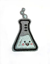 Kawaii cute flask embroidered iron on patch 75mm tall chemistry Glow in the Dark