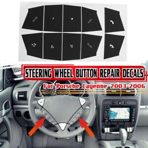 For Porsche Cayenne Steering Wheel Matte Black Button Repair Decals
