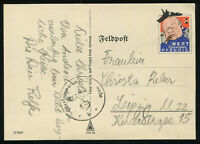 1940 Germany 3rd Reich WWII Postcard German Cover Hitler Wehrmacht Feldpost Used