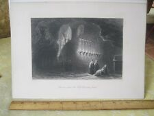 Vintage Print,CAVERN WHERE HOLY CROSS FOUND,WH.Bartlett,Engraving,Turkey+Greace