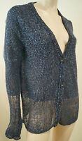 RAG & BONE Blue & Black Silk Blend V Neck Long Sleeve Sheer Hem Cardigan Top M