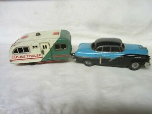 VINTAGE 1950'S SSS TIN FRICTION CADILLAC with HOUSE TRAILER - WORKS