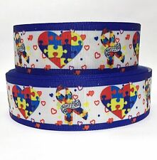 """GROSGRAIN RIBBON 1.5"""" AUTISM AWARENESS PUZZLE HEARTS AW18 PRINTED USA SELLER"""