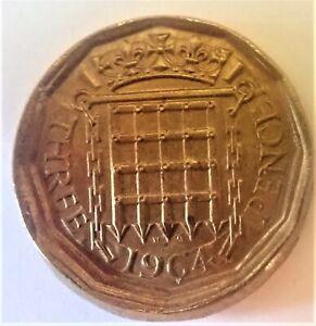 Great Britain 1964 Brass Three Pence: Error, Broadstruck & Double Struck, BU