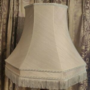 Large Pale Blue Grey Lined Fringed Octagonal Lampshade for Standard Lamp