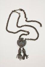 Antique Vulcanite or gutta percha carved pendant necklace chain Victorian mourn