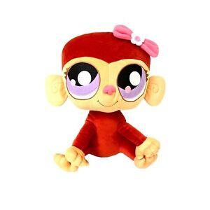 Littlest Pet Shop LPS Hasbro 2008 Large Jumbo Monkey Animal Plush Toy Purple eye
