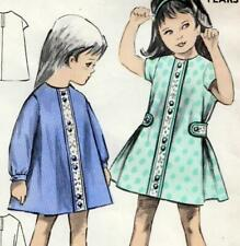 """Vintage 60s GIRLS DRESS Sewing Pattern 2 & 3 Years Chest 24"""" RETRO Toddler PARTY"""